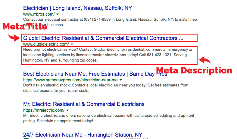 Example of a Meta Description and Meta Title in Search Results