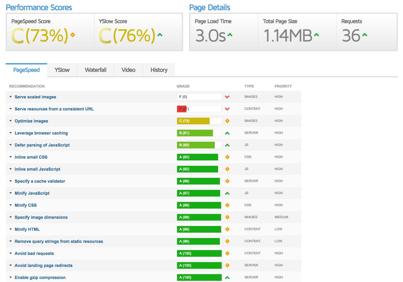 Google PageSpeed Report Screen Shot