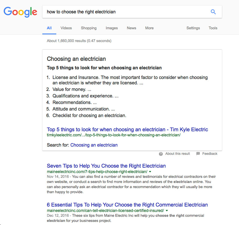 Screen shot of Google results to show ranking at zero