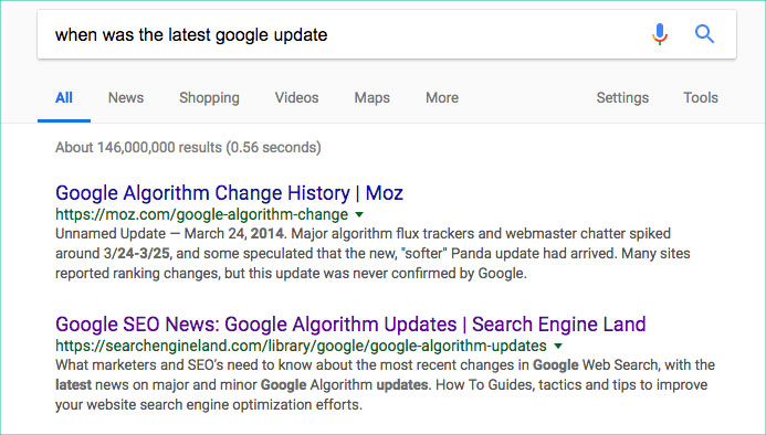 Organic rankings search results example