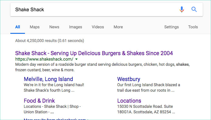 Site links in results example