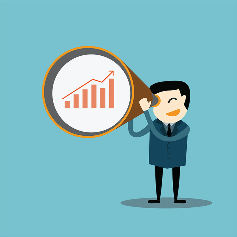 graphic of Businessman looking at graph data with a zoom lens